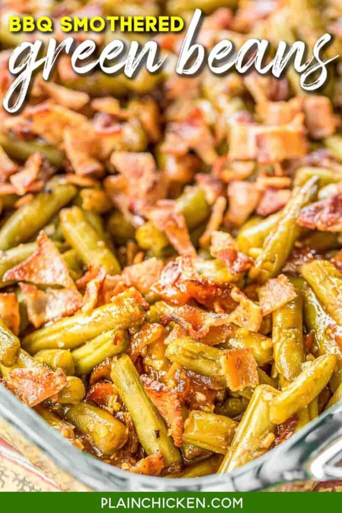casserole dish of bbq green beans