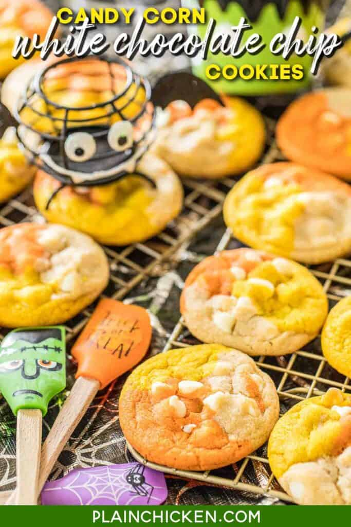 orange yellow & white chocolate chip cookies on baking rack