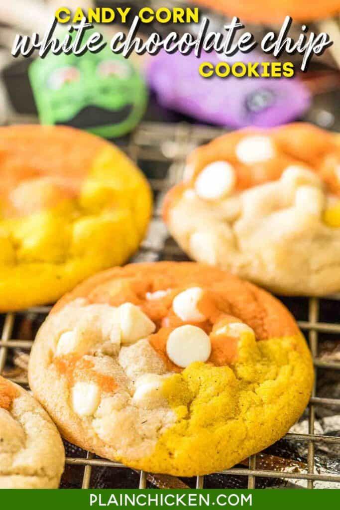 orange yellow & white chocolate chip cookies