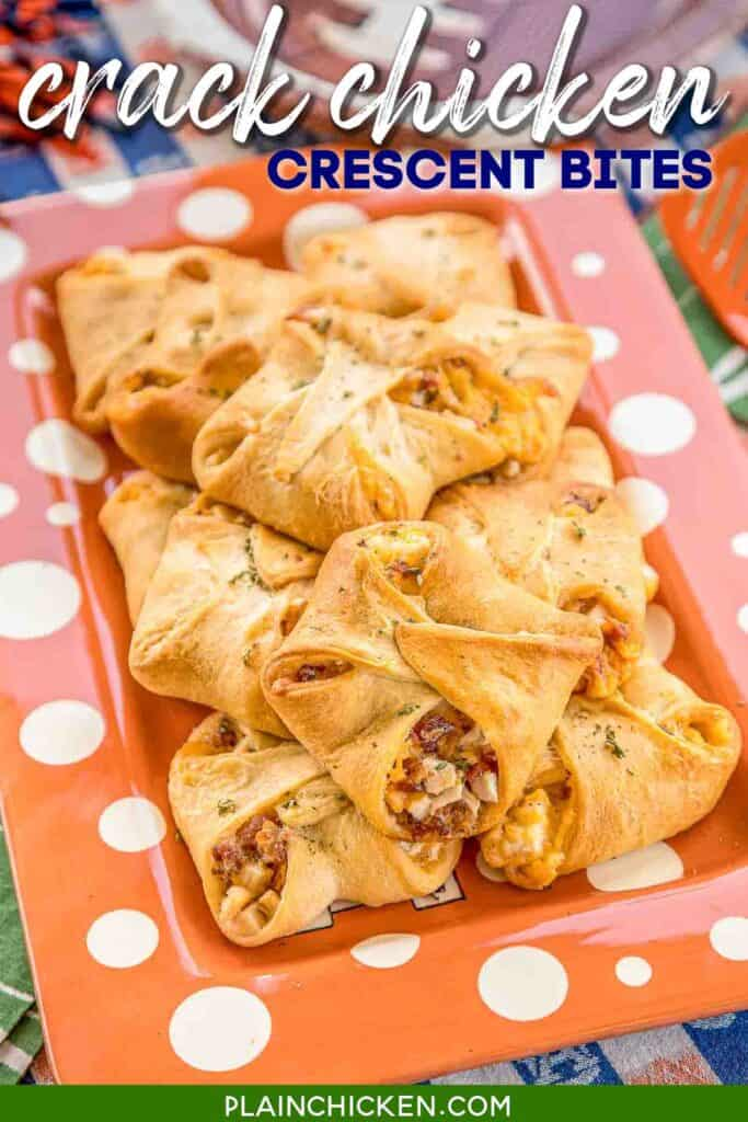 plate of chicken bacon ranch crescent bites