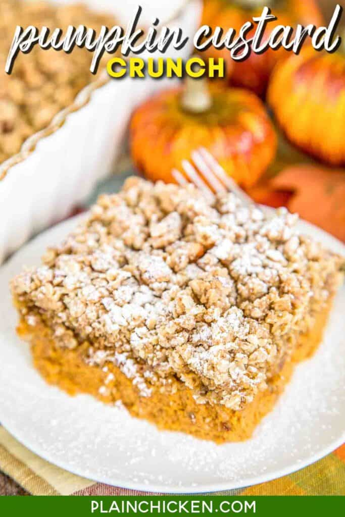 slice of pumpkin custard granola crunch on a plate