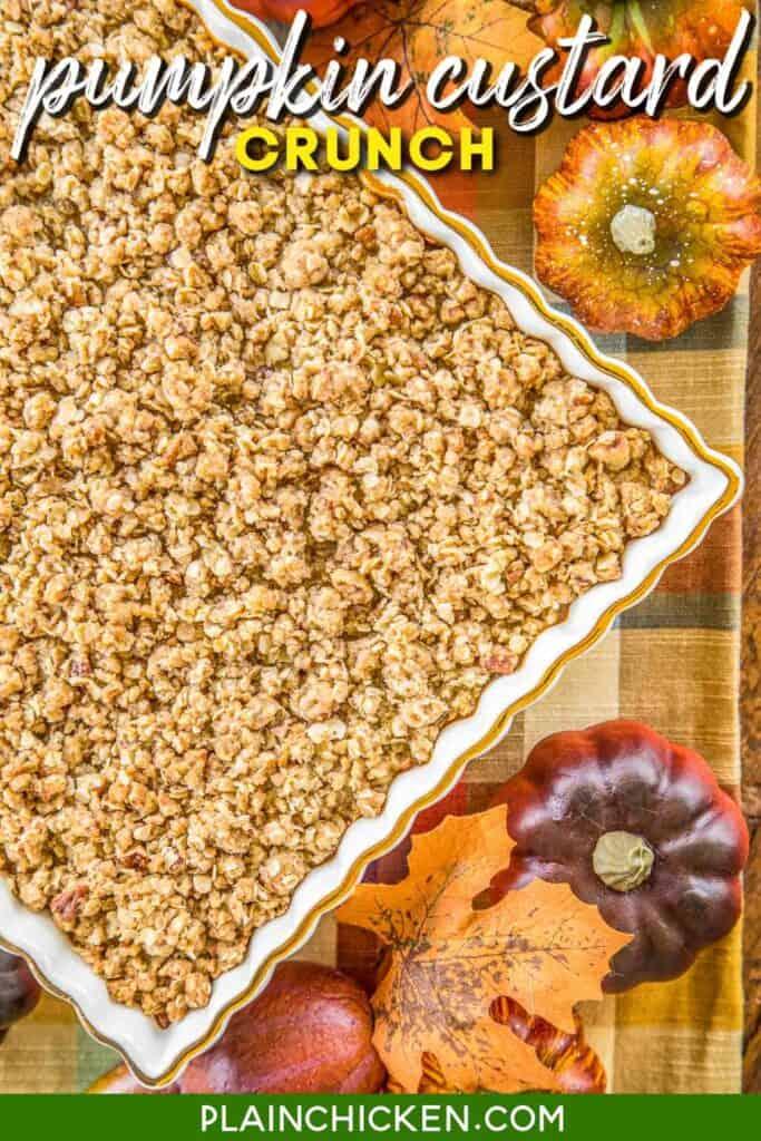 pumpkin granola casserole in baking dish