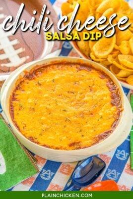 baking dish of chili cheese dip