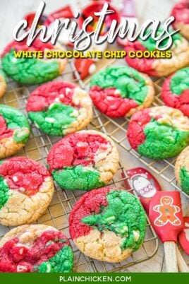 red green and white chocolate chips cookies on cooling rack
