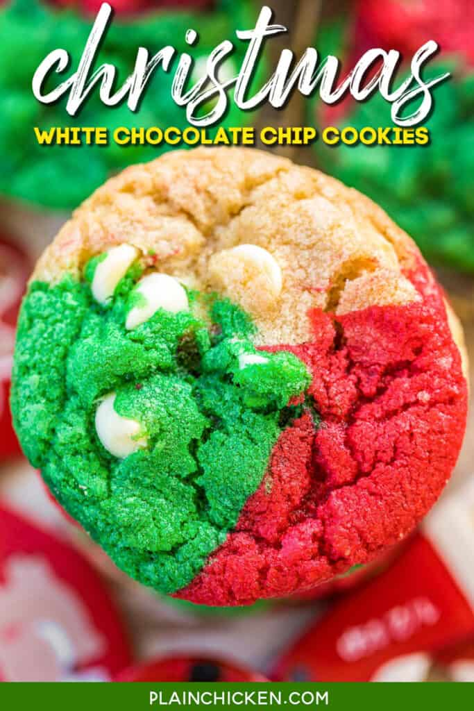 red green and white chocolate chips cookies