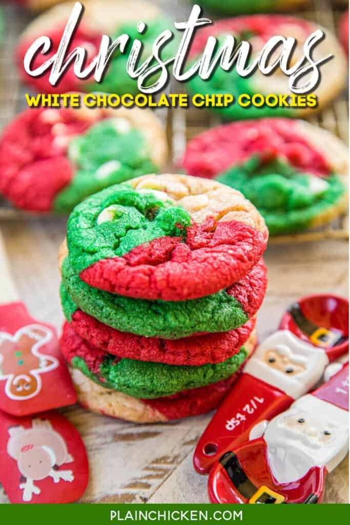 stack of red green and white chocolate chip cookies