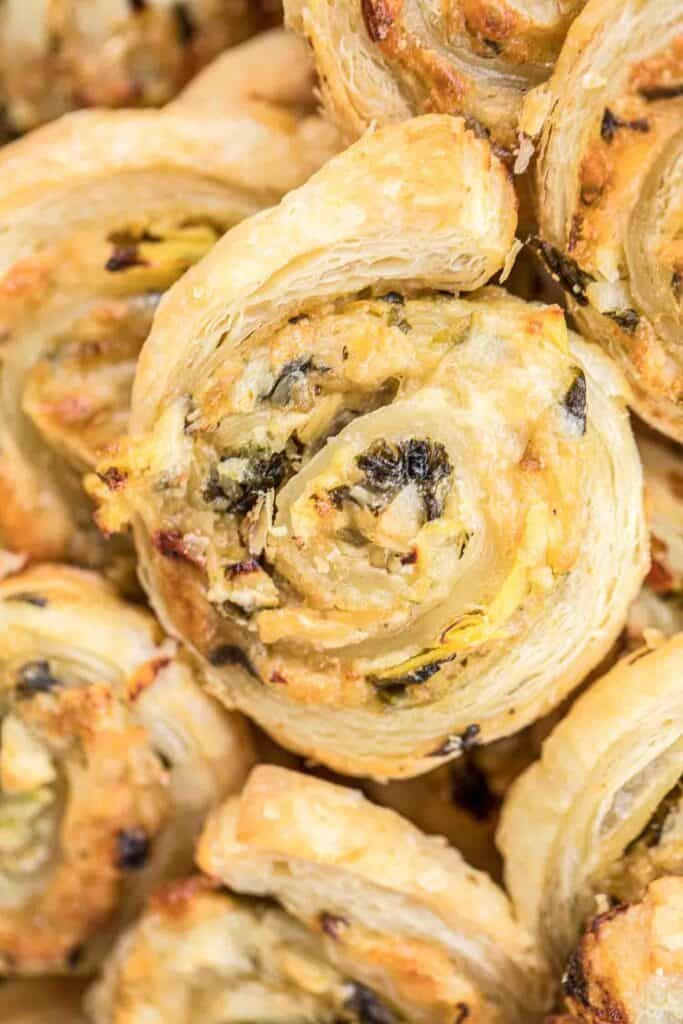 puff pastry spinach dip pinwheels