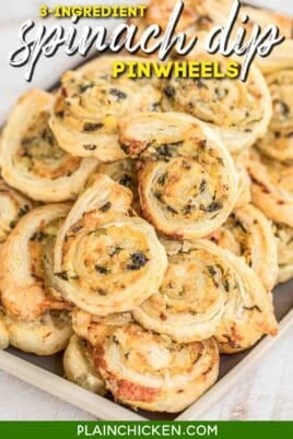 platter of puff pastry spinach dip pinwheels