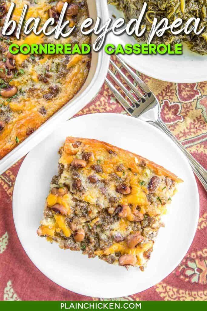 slice of black eyed pea cornbread on a plate