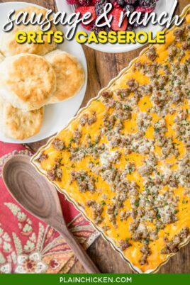 sausage and cheese grits casserole in baking dish