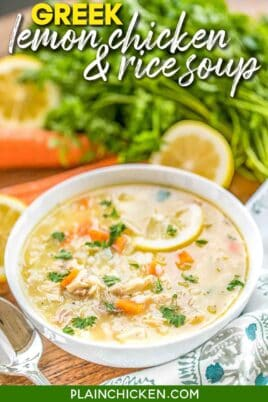 bowl of lemon chicken & rice soup