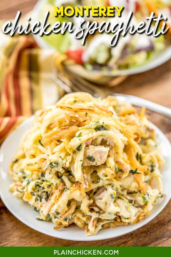plate of monterey chicken spaghetti with spinach