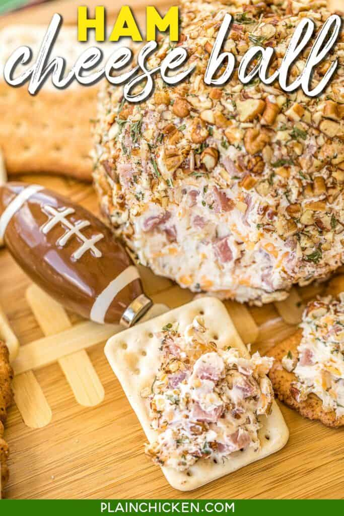 ham and cheese ball on a cracker