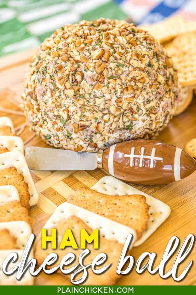 ham and cheese ball on a platter