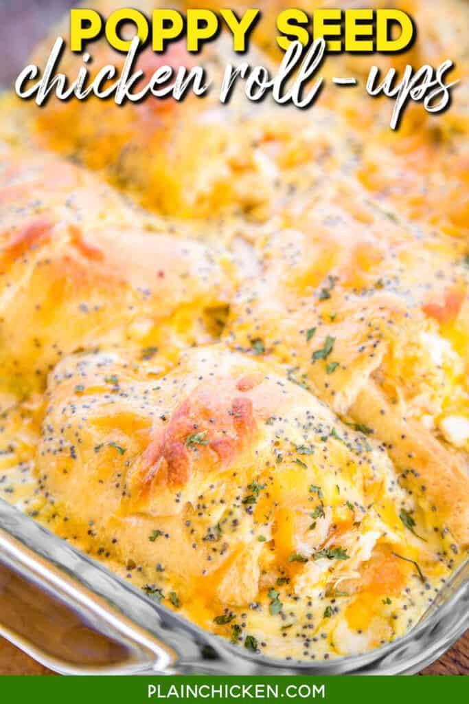 chicken crescent casserole in a baking dish