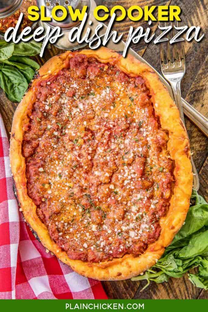 deep dish pizza on a platter