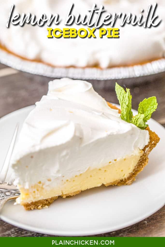 slice of lemon pie on a plate