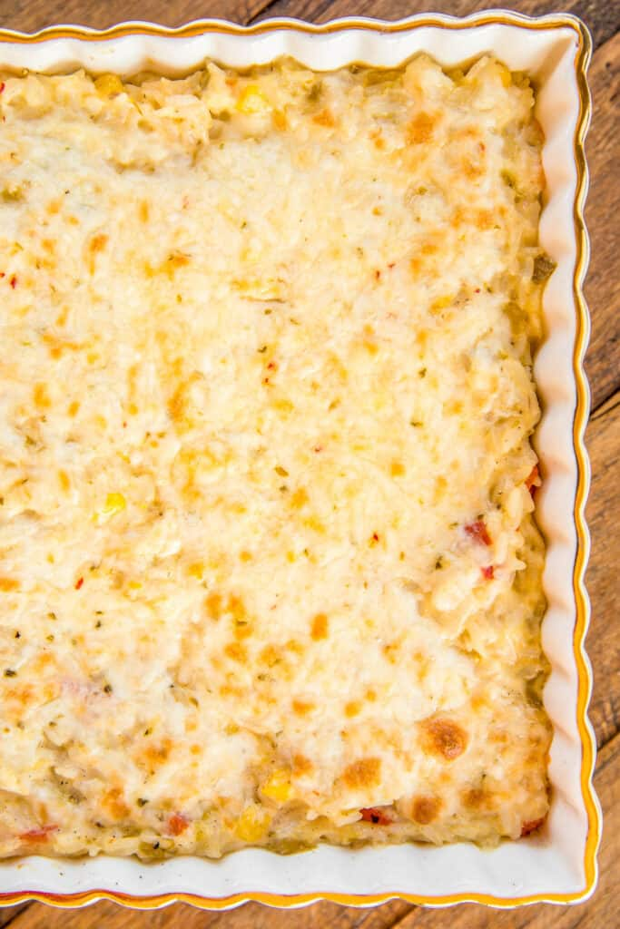 baking dish of pepper jack rice