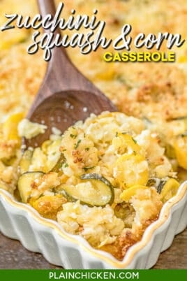 scooping squash corn and zucchini casserole from baking dish