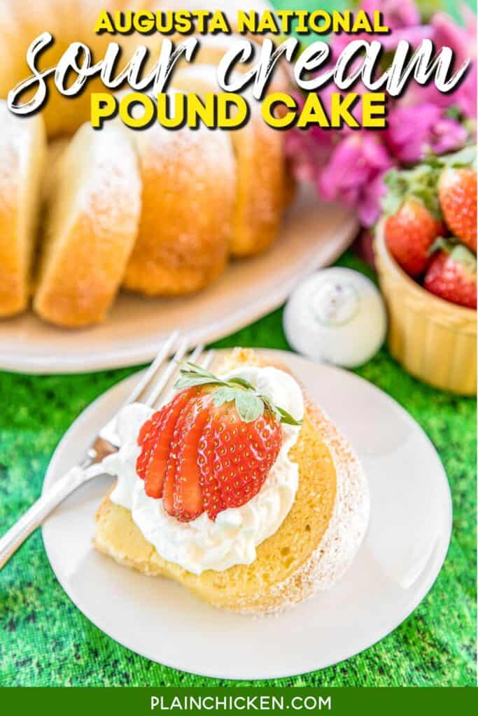 slice of pound cake topped with whipped cream and strawberries