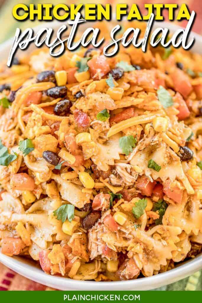 bowl of chicken pasta salad