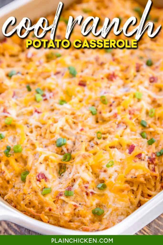 baking dish of potato casserole