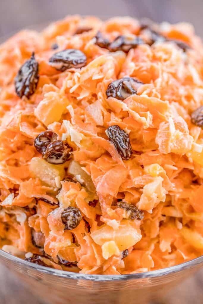 bowl of carrot and raisin salad