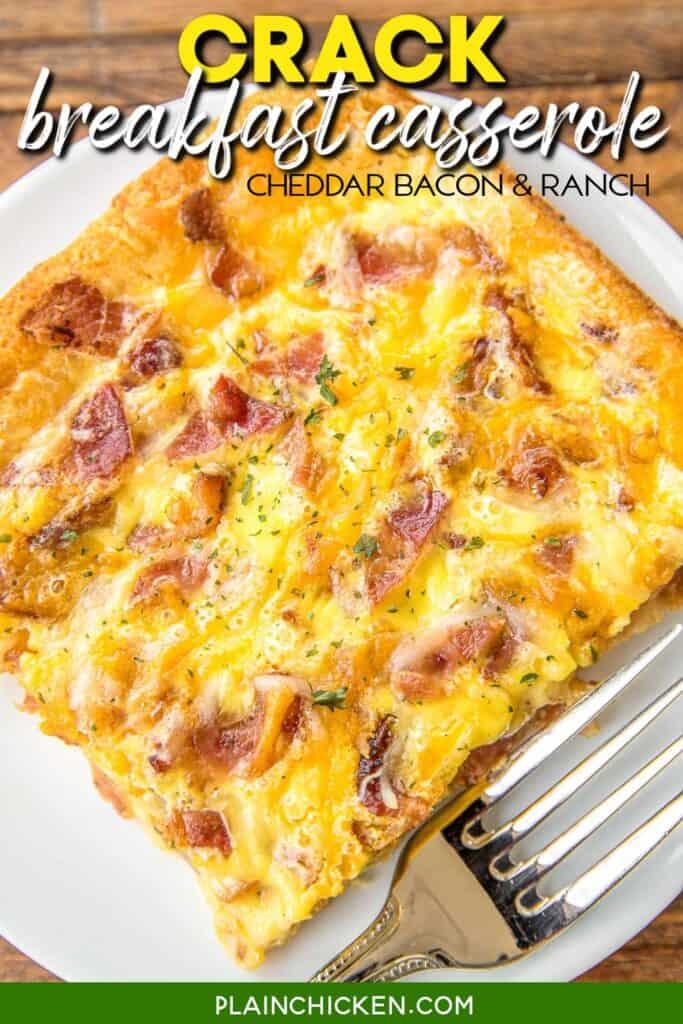 slice of cheddar bacon breakfast casserole