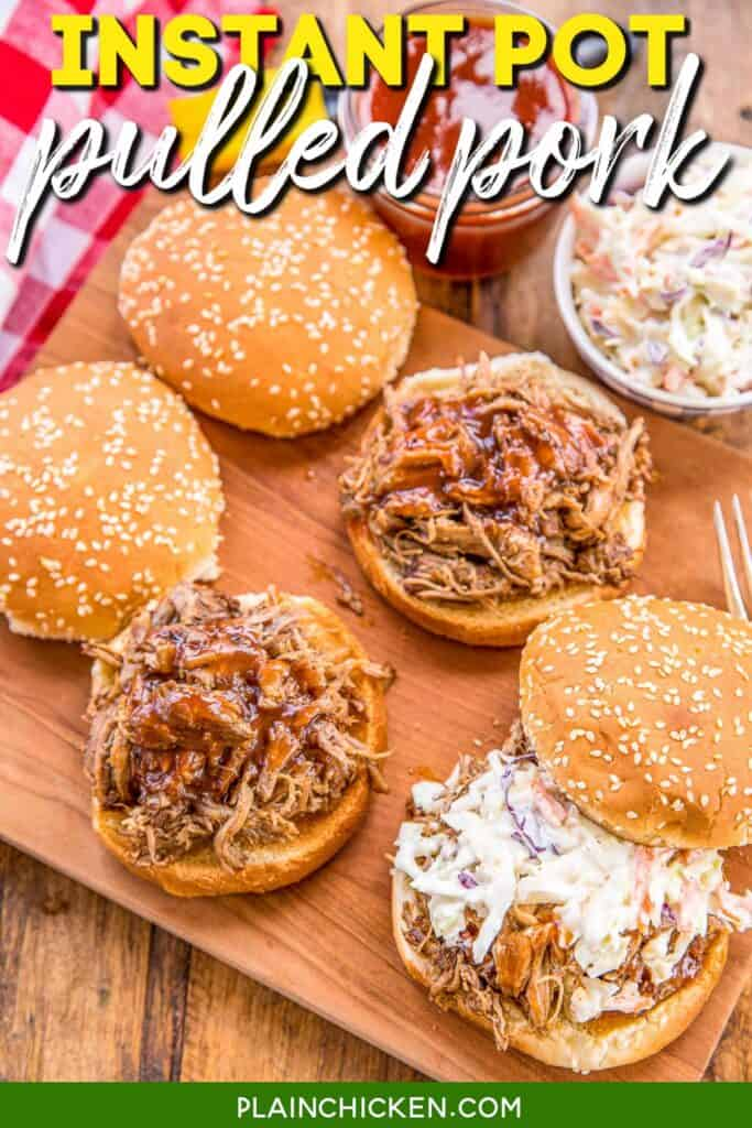 pulled pork sandwiches on a platter