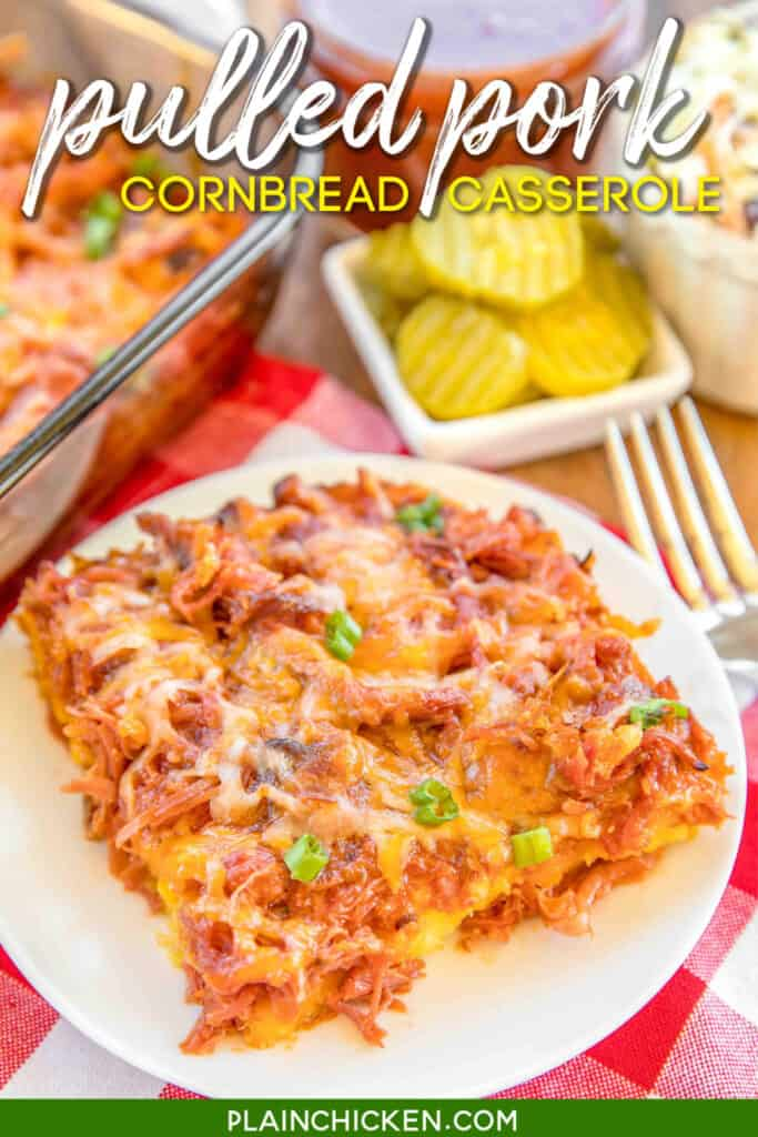 pulled pork casserole on a plate