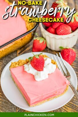 slice of strawberry cheesecake topped with whipped cream and strawberries
