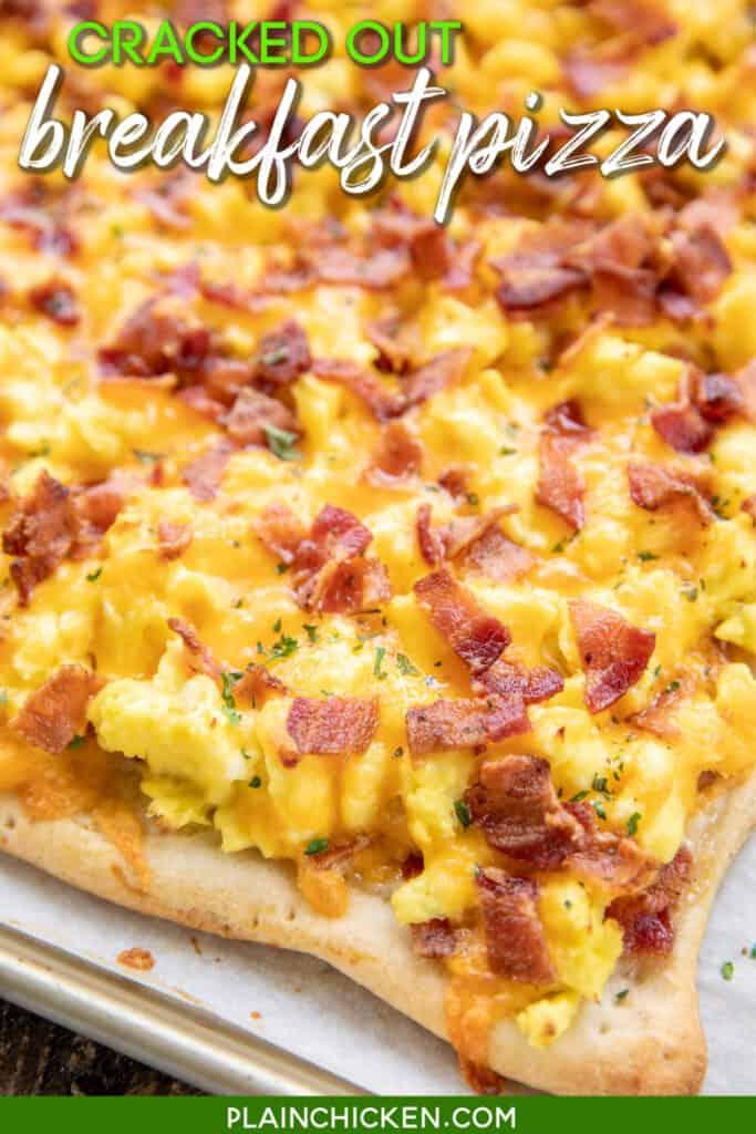 breakfast pizza on baking sheet