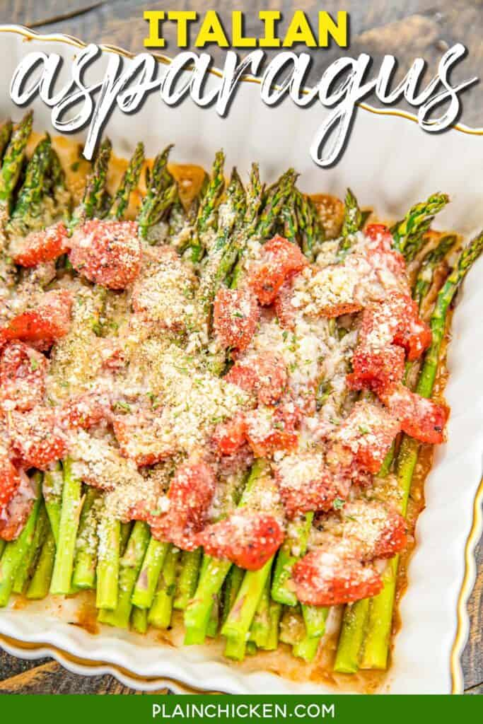 baking dish of asparagus and tomatoes