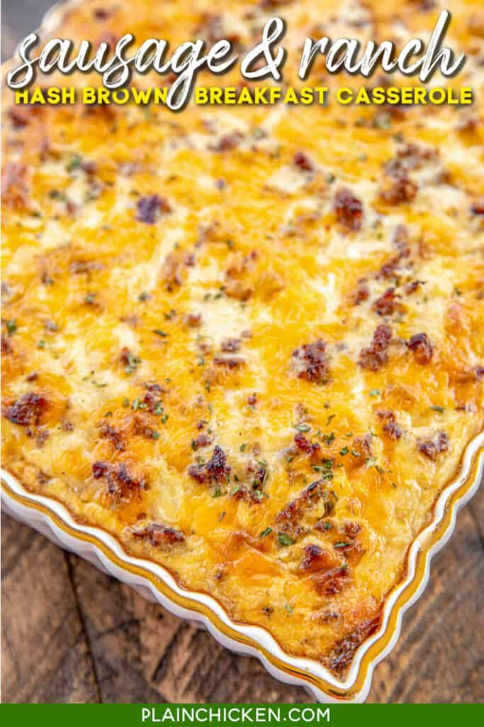 baking dish of sausage breakfast casserole