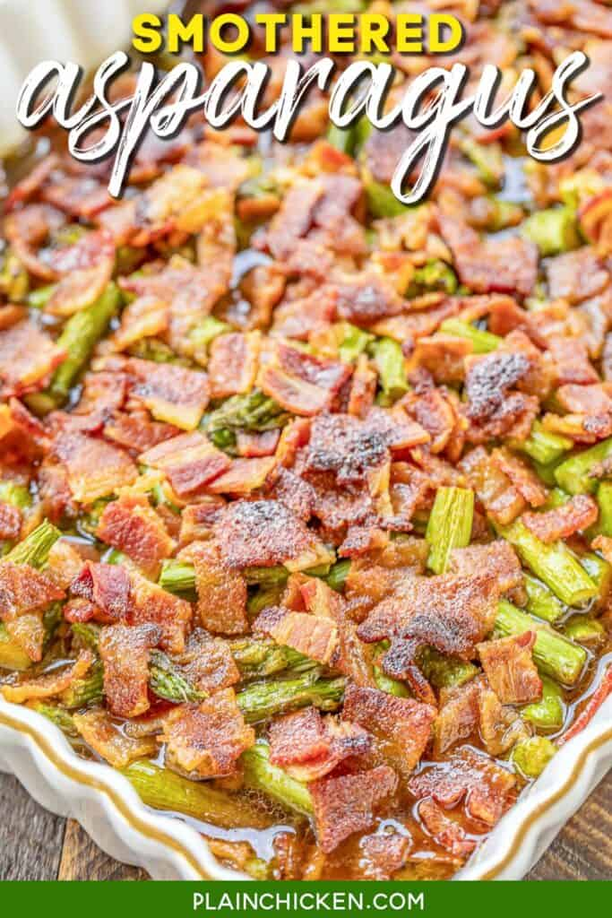 baking dish of bacon & asparagus