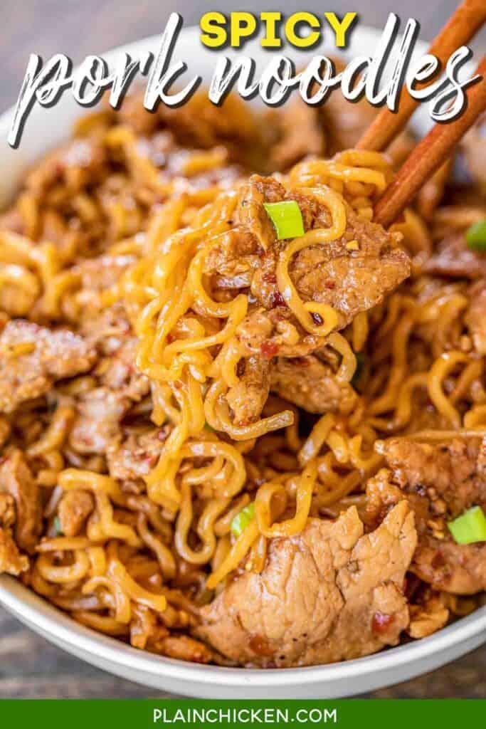 bowl of spicy pork noodles