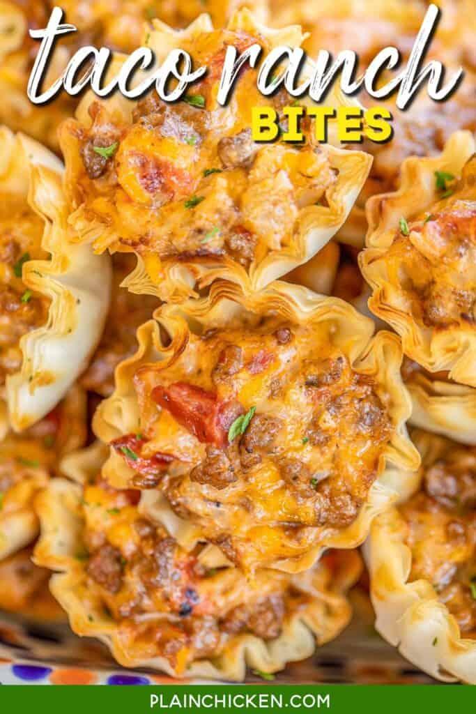 platter of taco ranch phyllo bites