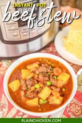 bowl of beef stew & cornbread
