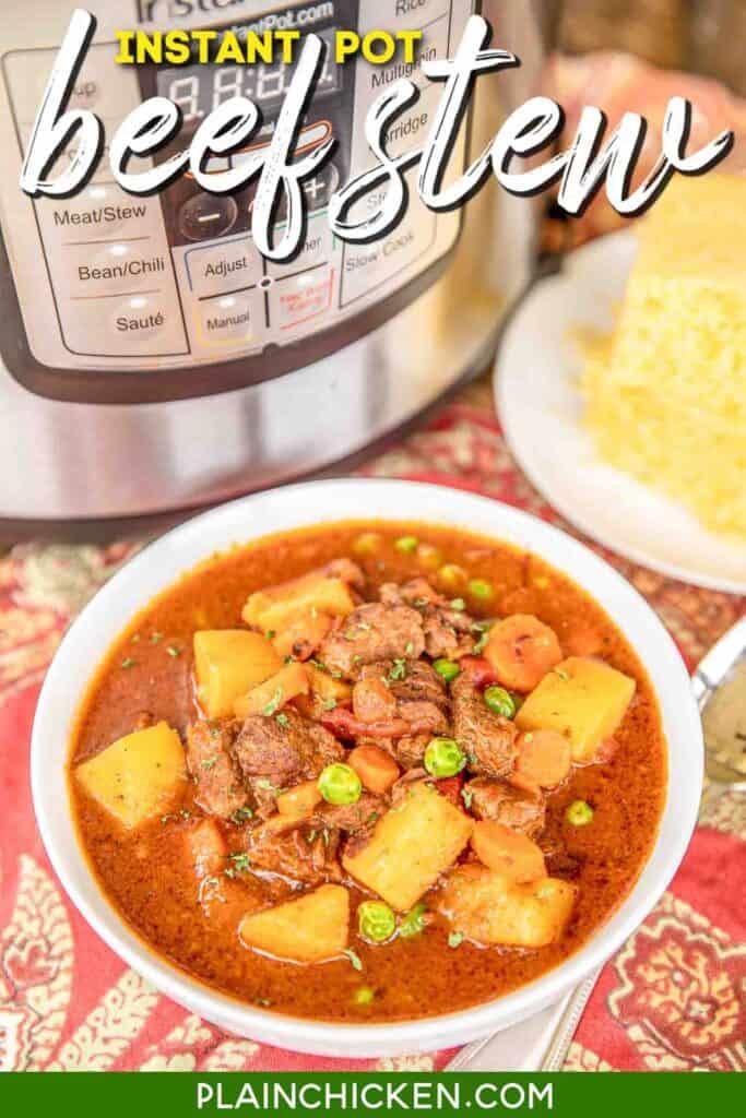bowl of beef stew & cornbread