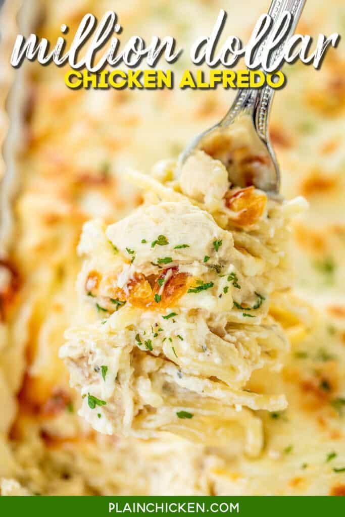 forkful of chicken alfredo casserole