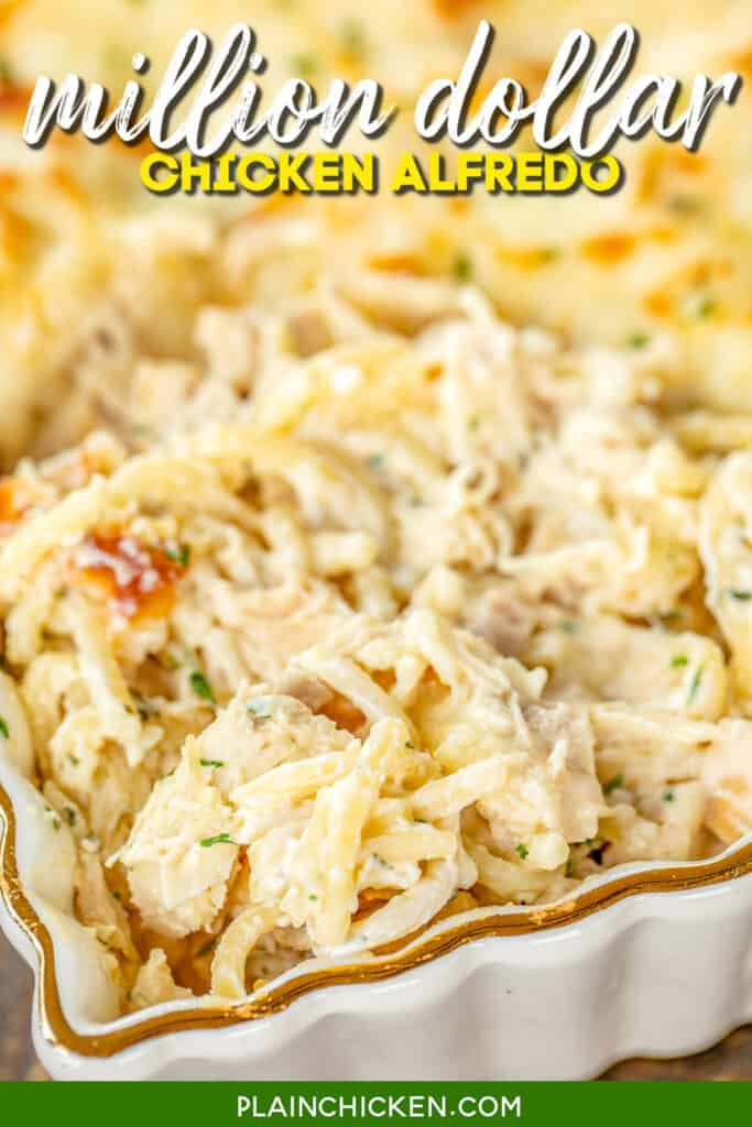baking dish of chicken alfredo casserole
