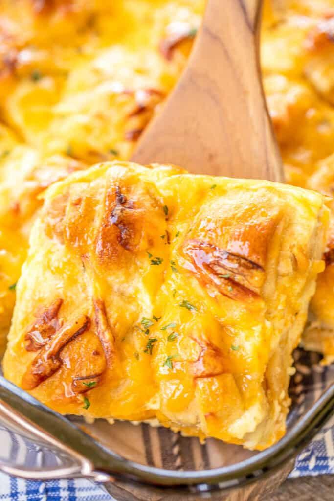 slice of chicken mini crescent breakfast casserole