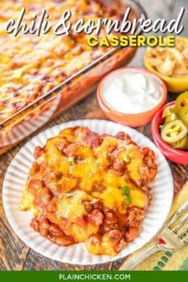 plate of chili & cornbread casserole