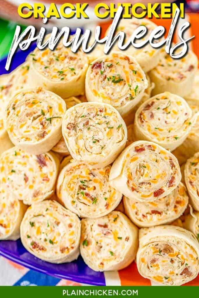 platter of chicken tortilla pinwheel sandwiches