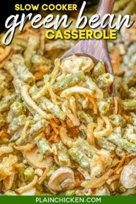 slow cooker of green bean casserole