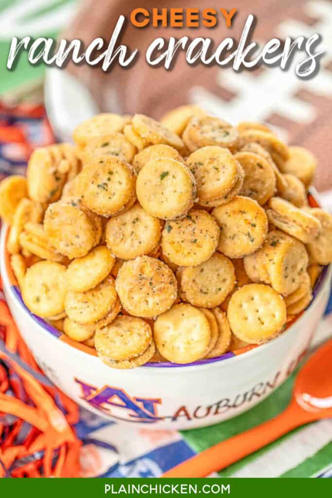 bowl of cheese ritz crackers with ranch