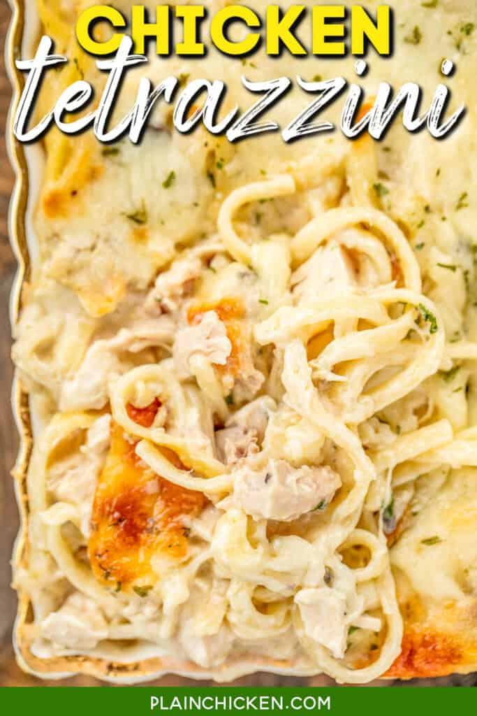 baking dish of chicken spaghetti casserole
