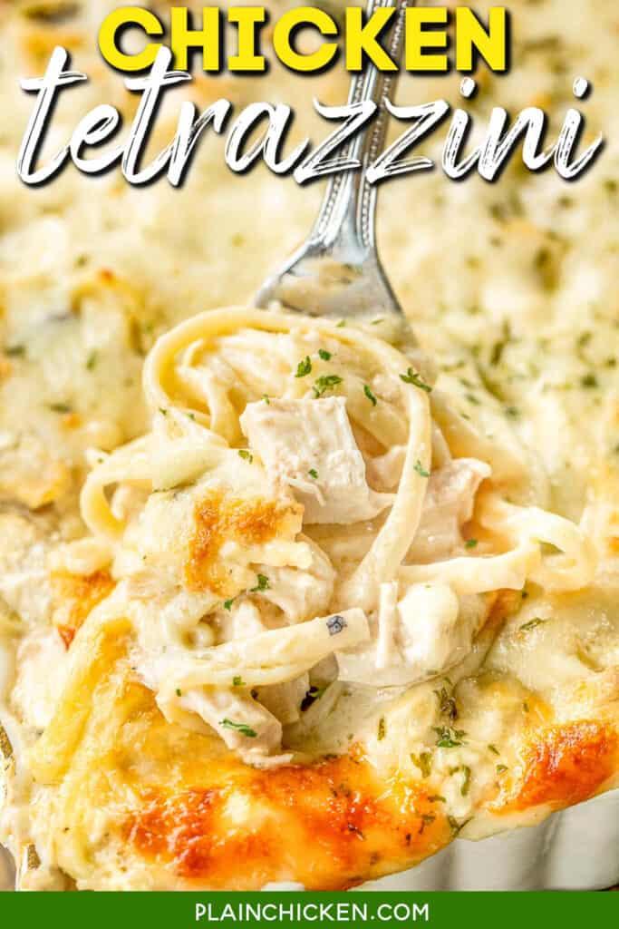 fork in a casserole dish of chicken tetrazzini
