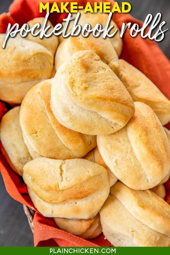 basket of baked pocketbook rolls