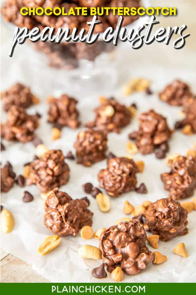 chocolate peanut clusters on parchment paper